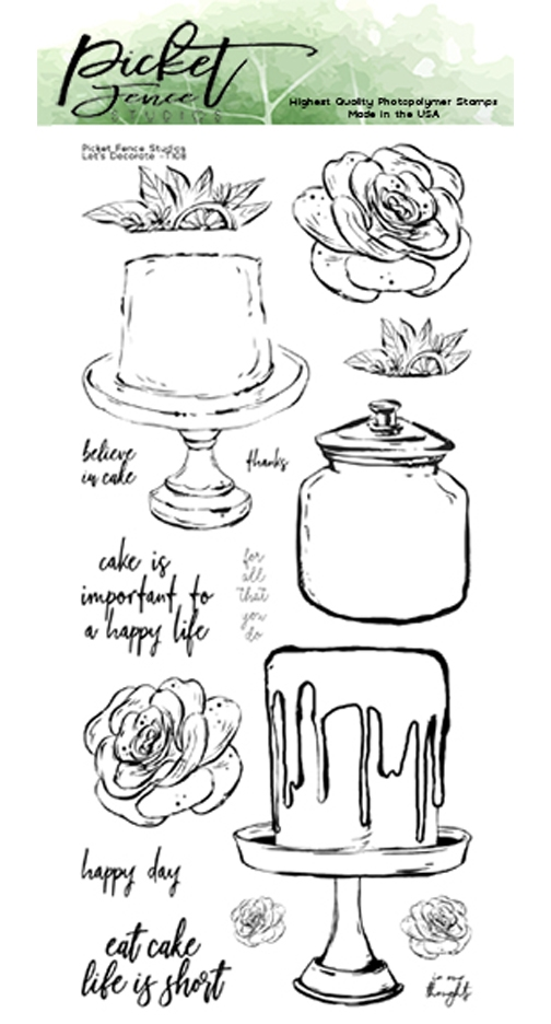Picket Fence Studios LET'S DECORATE Clear Stamp Set t108 zoom image