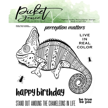 Picket Fence Studios CHARLES THE CHAMELEON Clear Stamp Set cc102