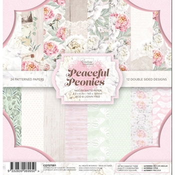 Couture Creations PEACEFUL PEONIES 6.5 x 6.5 Paper Pad co727351