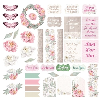 Couture Creations PEACEFUL PEONIES Ephemera co727364