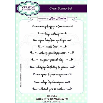 Creative Expressions SKETCHY SENTIMENTS Clear Stamps cec950
