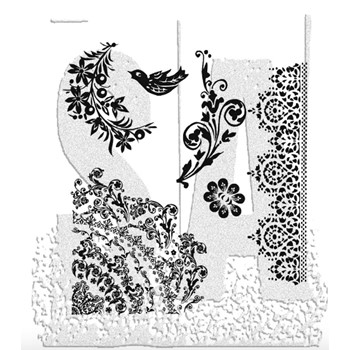 Tim Holtz Cling Rubber Stamps FLORAL TATTOO CMS059