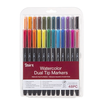 WATERCOLOR DUAL TIP Markers Set of 48