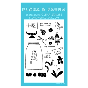 Flora and Fauna AVIARY FLOWER TERRARIUM Clear Stamps 20289