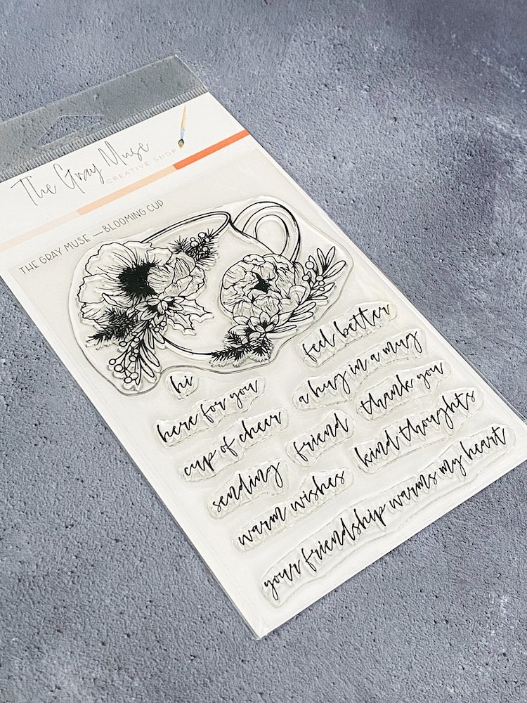 The Gray Muse BLOOMING CUP Clear Stamp Set tgm-d19-ss8 zoom image