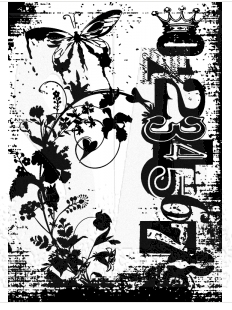 Tim Holtz Cling Rubber ATC Stamp FAIRY GARDEN COM029