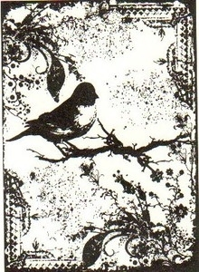 Tim Holtz Cling Rubber ATC Stamp TATTERED SPARROW Bird COM031