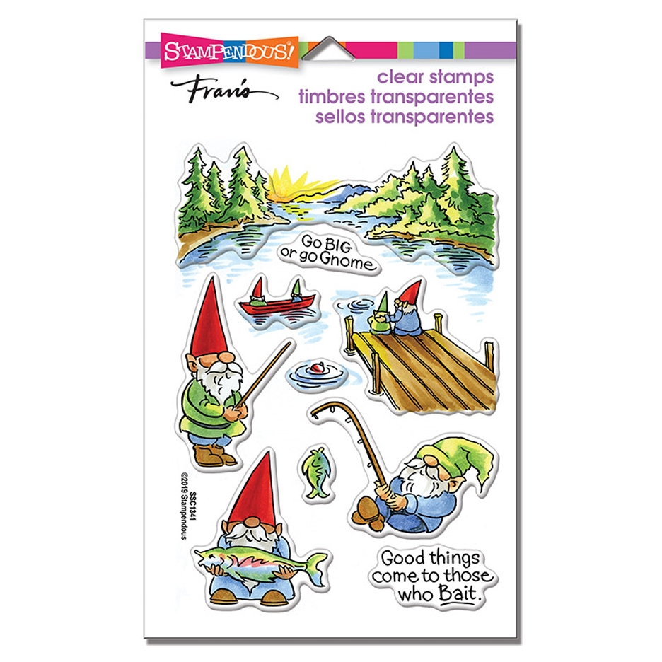 Stampendous Clear Stamps GNOME FISHING ssc1341 zoom image