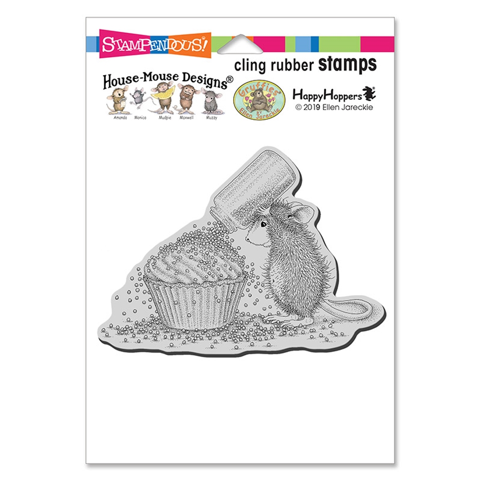 Stampendous, House Mouse Cupcake Sprinkles Cling Stamp