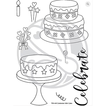 The Rabbit Hole Designs CELEBRATE WITH CAKE Clear Stamps TRH-49*