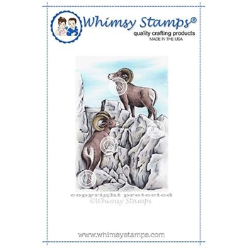 Whimsy Stamps MOUNTAIN RAMS Cling Stamp DA1134