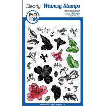 Whimsy Stamps LAYERED PERUVIAN LILY Clear Stamps C1306