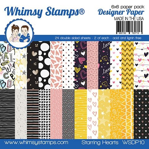 Whimsy Stamps STARRING HEARTS 6 x 6 Paper Pads WSDP10 zoom image