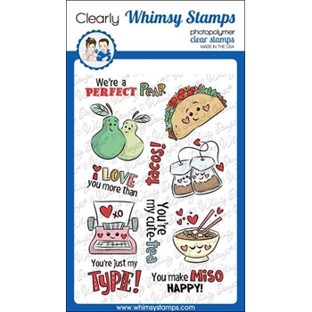 Whimsy Stamps VALENTINE PUNS Clear Stamps KHB101
