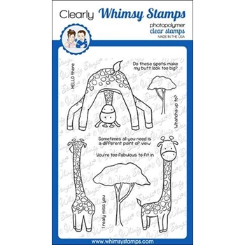 Whimsy Stamps GIRAFFE HELLO Clear Stamps CWSD297