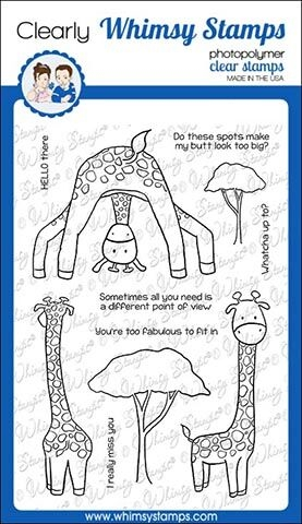 Whimsy Stamps GIRAFFE HELLO Clear Stamps CWSD297 zoom image