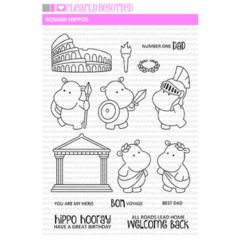 Clearly Besotted ROMAN HIPPOS Clear Stamps