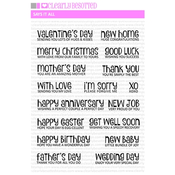 Clearly Besotted SAYS IT ALL Clear Stamps