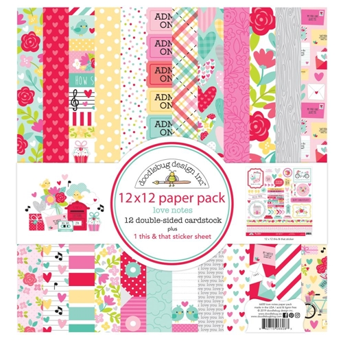 Doodlebug LOVE NOTES 12x12 Inch Paper Pack 6608 Preview Image