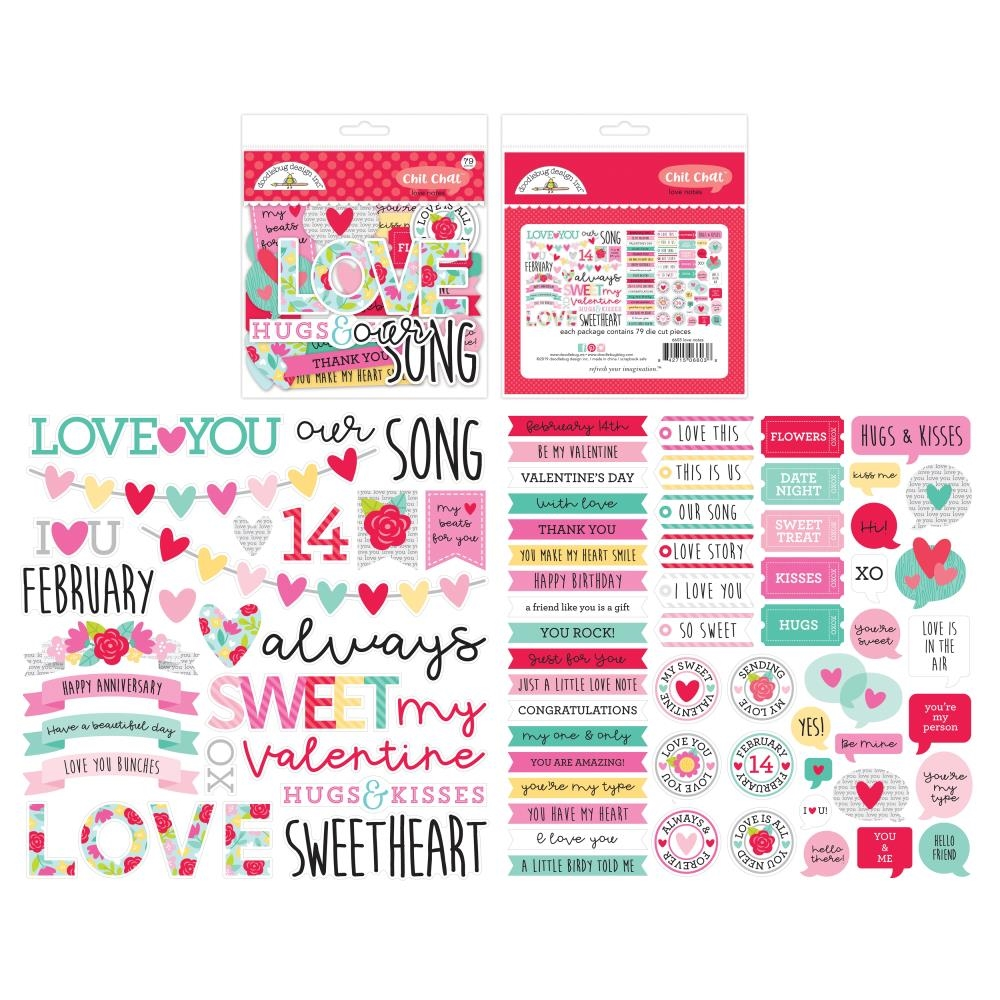 Doodlebug LOVE NOTES Chit Chat Odds and Ends Die Cuts 6603 zoom image