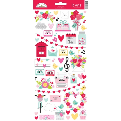 Doodlebug LOVE NOTES Icons Cardstock Stickers 6606 Preview Image