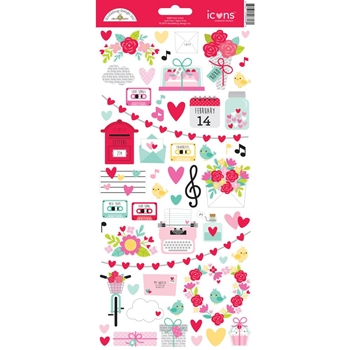 Doodlebug LOVE NOTES Icons Cardstock Stickers 6606