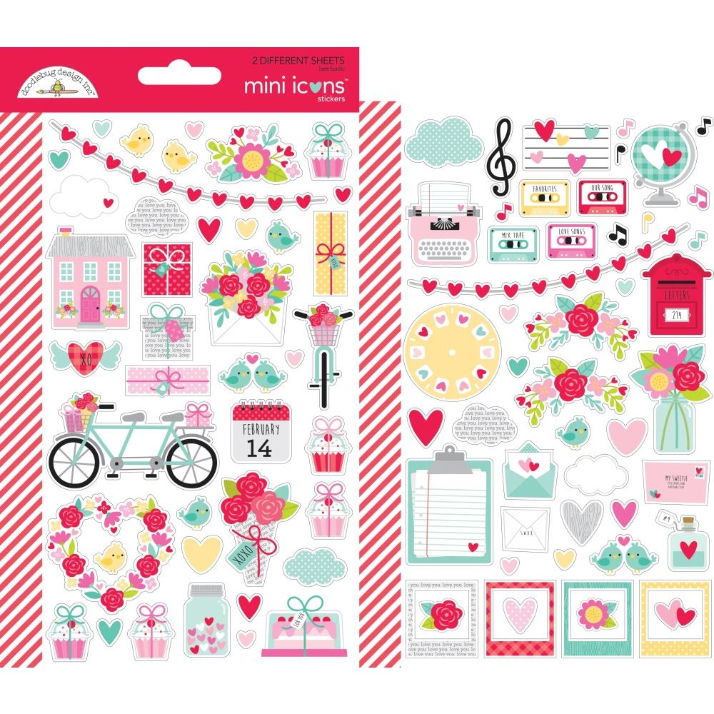 Doodlebug LOVE NOTES Mini Icons Cardstock Stickers 6583 zoom image