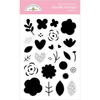 Doodlebug I PICK YOU Clear Stamps Love Notes 6586