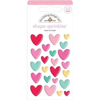 Doodlebug HEART TO HEART Sprinkles Adhesive Glossy Enamel Shapes 6576