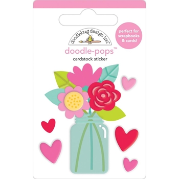 Doodlebug LOVE YOU BUNCHES Doodle Pops 3D Stickers Notes 6577