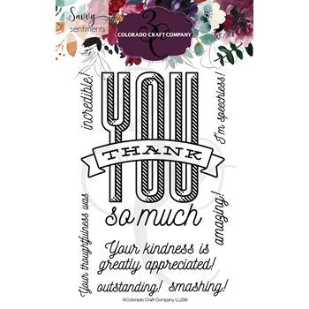 Colorado Craft Company Savvy Sentiments THANK YOU SO MUCH Clear Stamps SS299*