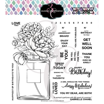 Colorado Craft Company Big and Bold PERFUME BOUQUET Clear Stamps BB296