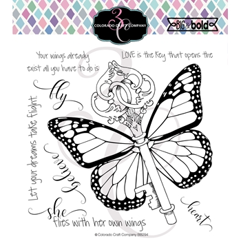 Colorado Craft Company Big and Bold BUTTERFLY KEY Clear Stamps BB294