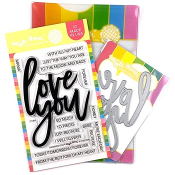 Waffle Flower OVERSIZED LOVE Clear Stamp and Die Combo WFC301