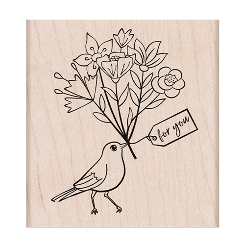Hero Arts Rubber Stamp BIRD WITH BOUQUET K6423 Preview Image