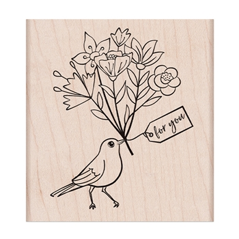 Hero Arts Rubber Stamp BIRD WITH BOUQUET K6423