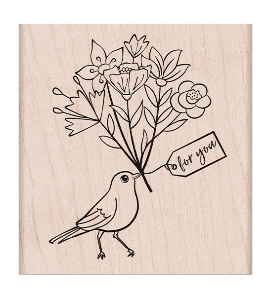 Hero Arts Rubber Stamp BIRD WITH BOUQUET K6423 zoom image