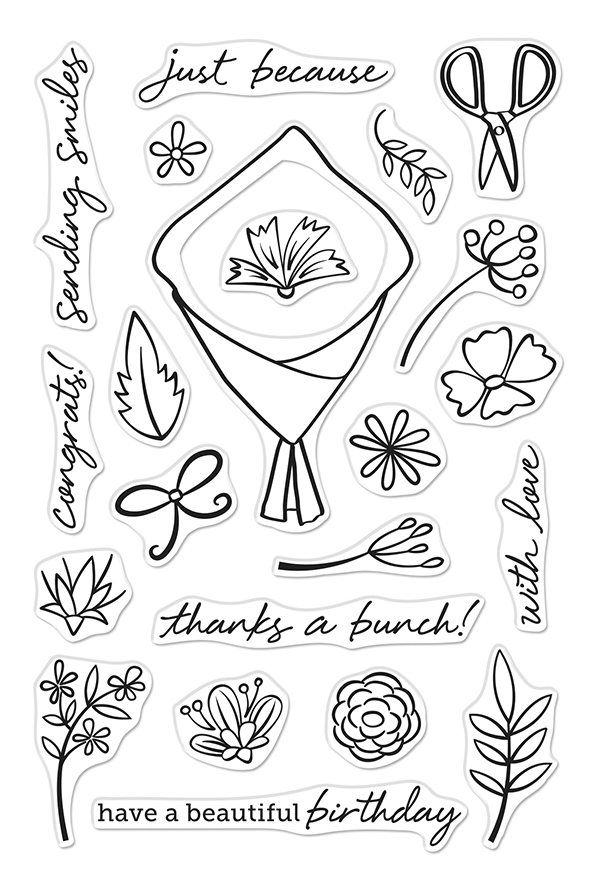 Hero Arts Clear Stamps FLOWER BOUQUET PIECES CM432  zoom image