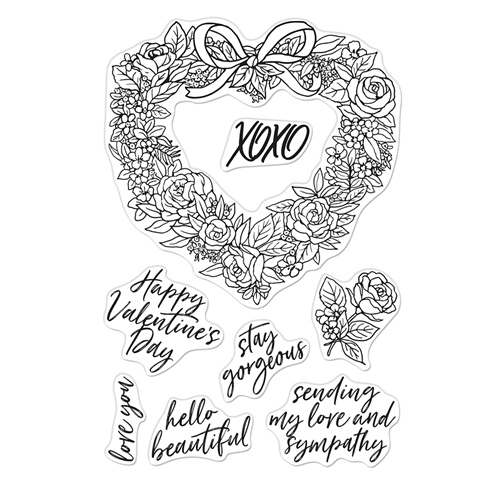 Hero Arts Clear Stamps FLORAL HEART WREATH CM431 Preview Image