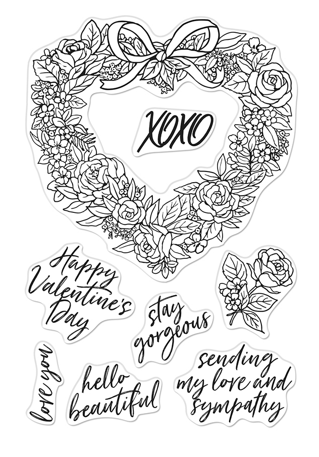 Hero Arts Clear Stamps FLORAL HEART WREATH CM431 zoom image