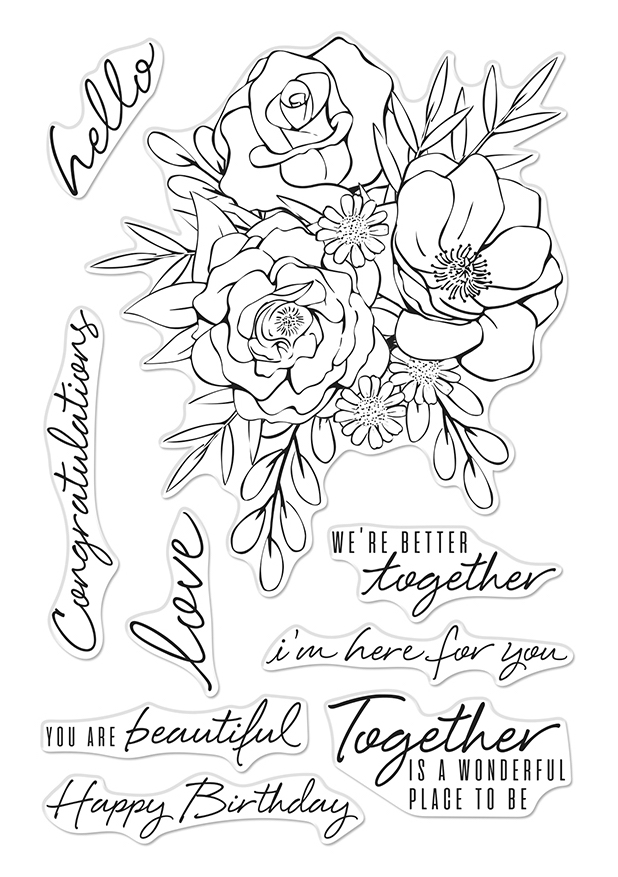 Hero Arts Clear Stamps TOGETHERNESS FLOWER BOUQUET CM421 zoom image