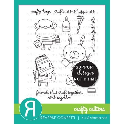 Reverse Confetti CRAFTY CRITTERS Clear Stamps Preview Image