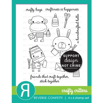 Reverse Confetti CRAFTY CRITTERS Clear Stamps