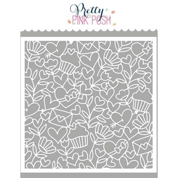 Pretty Pink Posh LOVE BACKGROUND Stencil