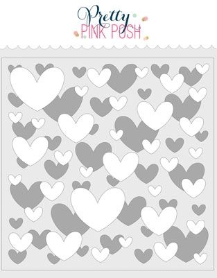 Pretty Pink Posh LAYERED HEARTS Stencils  Preview Image