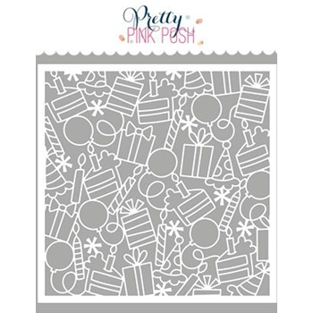 Pretty Pink Posh BIRTHDAY BACKGROUND Stencil