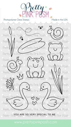 Pretty Pink Posh POND FRIENDS Clear Stamps zoom image