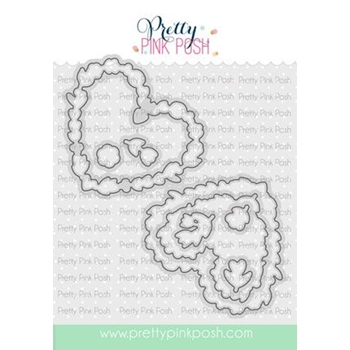 Pretty Pink Posh LARGE FLORAL HEARTS Dies