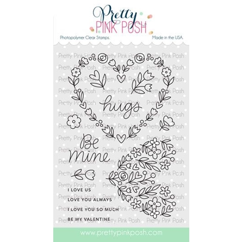 Pretty Pink Posh LARGE FLORAL HEARTS Clear Stamps  Preview Image
