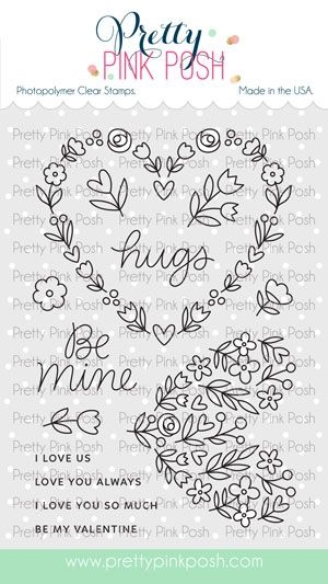 Pretty Pink Posh LARGE FLORAL HEARTS Clear Stamps  zoom image